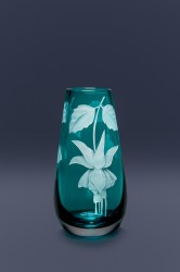 Fuchsia bud vase glass art by cynthia myers
